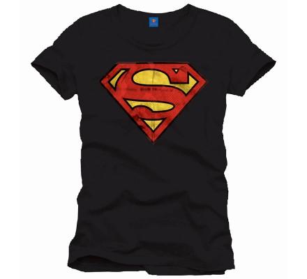 Tee Shirt Homme Noir Logo Dore Superman