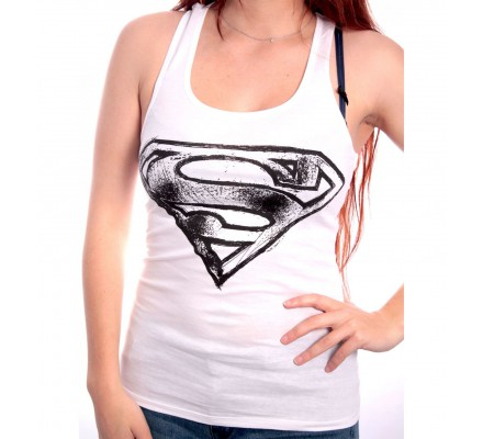 Débardeur Femme Blanc Logo Noir Effet Crayon Superman