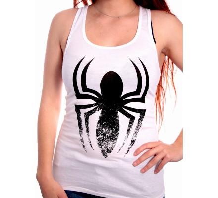 Débardeur Femme Blanc Logo Noir Spiderman