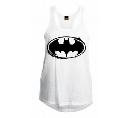 Débardeur Femme Blanc Logo Pencil Batman