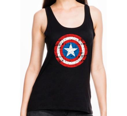 Débardeur Femme Noir Logo Shield Captain America
