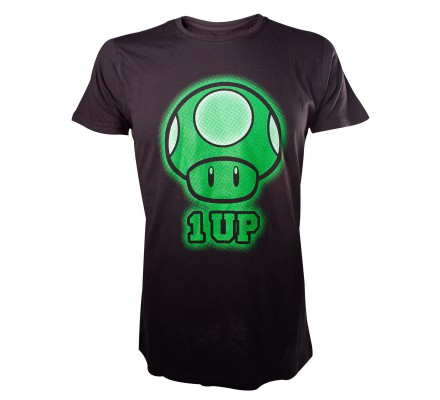 Tee-Shirt Noir Mario 1 up Nintendo