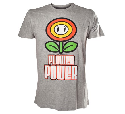 Tee-Shirt Gris Mario Flower Power Nintendo