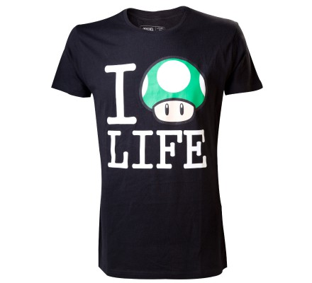 Tee-Shirt Noir Mario Mushroom Life Nintendo