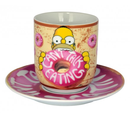 Mug avec Soucoupe Homer Can't Talk Eating Simpsons