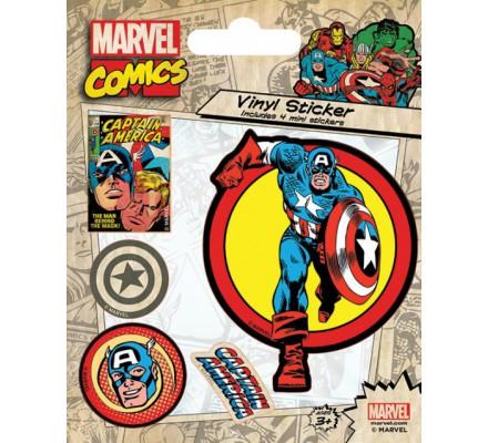 Pack de 5 Stickers Retro Captain America