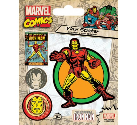 Pack de 5 Stickers Retro Iron Man