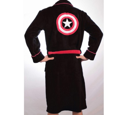 Peignoir Noir Shield Logo Captain America