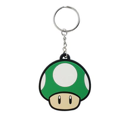 Porte-clés caoutchouc Mario Champignon Vert 6 cm Nintendo