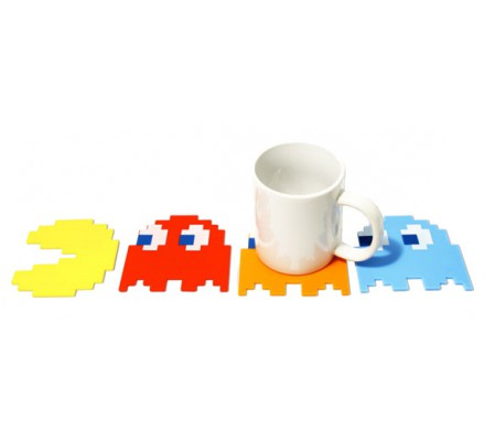 Set de 4 Sous-Verres Silicone Pacman