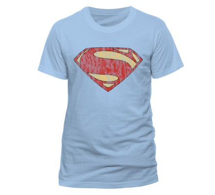 Tee-Shirt Blanc Logo Man of Steel Rouge Superman