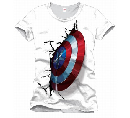 Tee-Shirt Blanc Shield On Wall Captain America