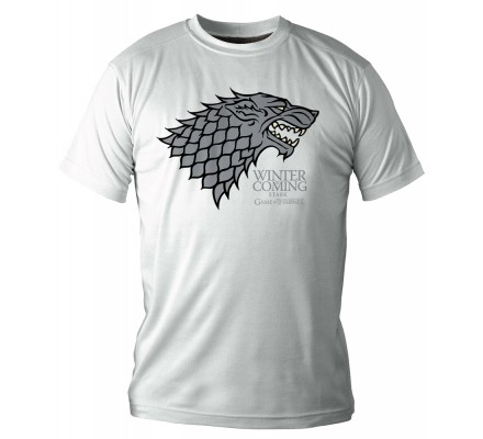 Tee-Shirt Blanc Stark Winter is Coming Game of Thrones