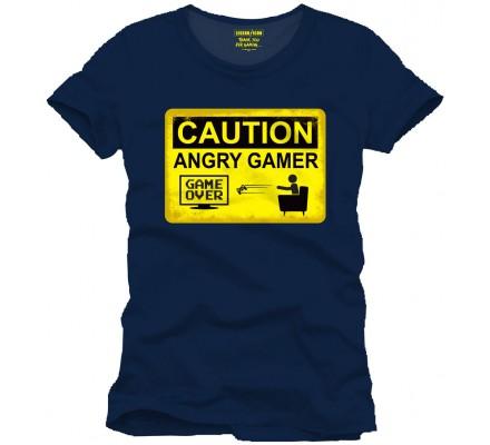 Tee-Shirt Bleu Caution Angry Gamer Geek