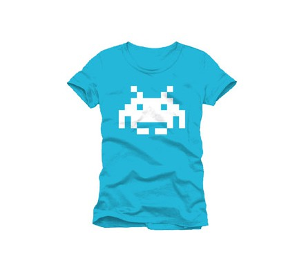 Tee-Shirt Bleu Logo Blanc Space Invaders