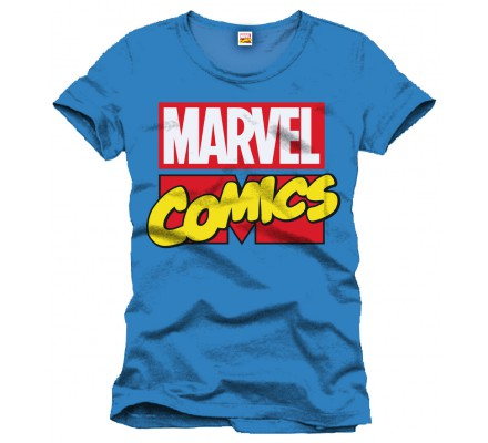 Tee-Shirt Bleu Logo Comics Marvel