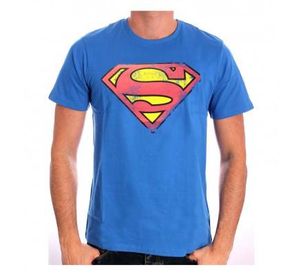 Tee-Shirt Bleu Logo Rouge Effet Usé Superman