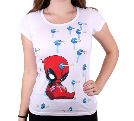 Tee-Shirt Femme Blanc Baby Arrows Deadpool