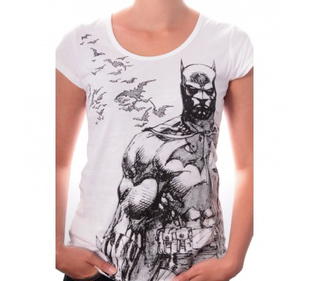 Tee Shirt Femme Blanc Bat FLy Batman