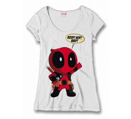 Tee-Shirt Femme Blanc Boop Bop Deadpool