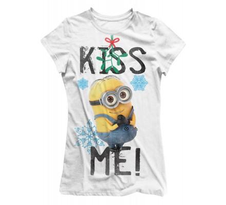 Tee-Shirt Femme Blanc Kiss Me Moi Moche et Méchant