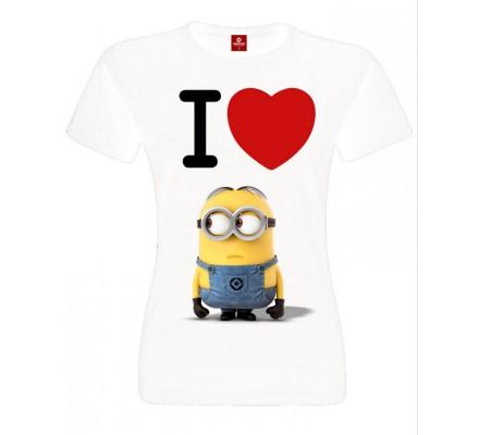 Tee-Shirt Femme Blanc Love Minions Moi Moche et Méchant
