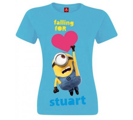 Tee-Shirt Femme Bleu Falling For Stuart Moi Moche et Méchant