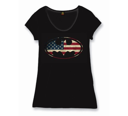 Tee Shirt Femme Noir Batgirl Flag Batman