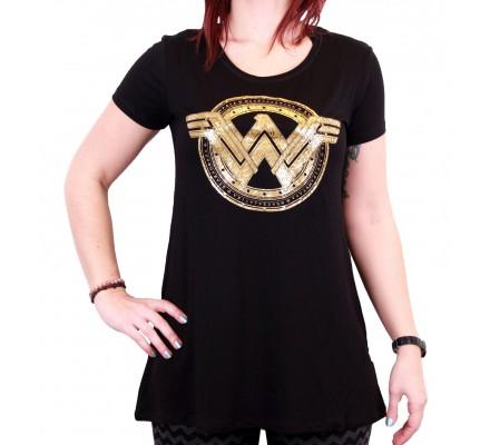 Tee-Shirt Femme Noir et Or Wonder Woman