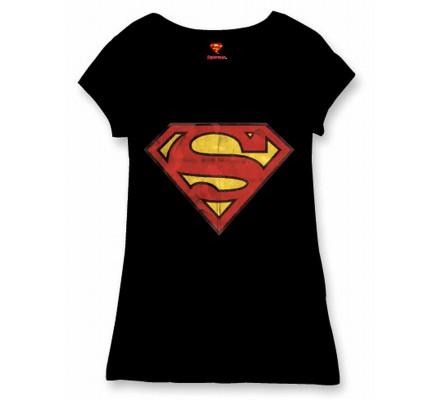Tee-Shirt Femme Noir Logo Superman