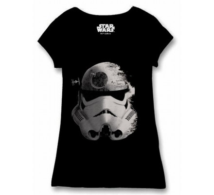 Tee-Shirt Femme Noir Trooper Space Star Wars