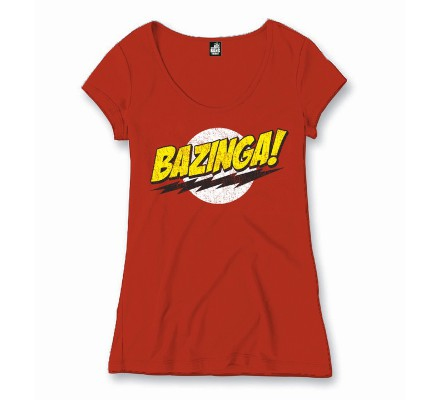 Tee-Shirt Femme Rouge Texte Bazinga The Big Bang Theory