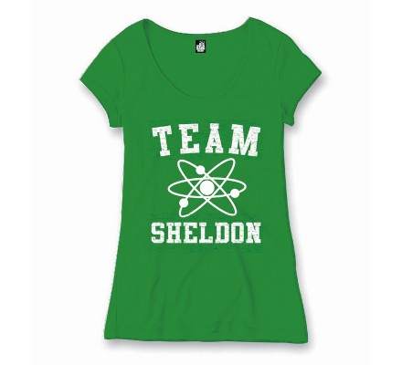 Tee-Shirt Femme Vert Team Sheldon The Big Bang Theory