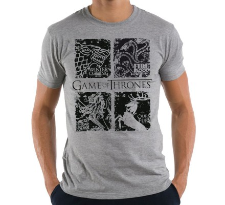Tee-Shirt Gris Black Houses Game of Thrones