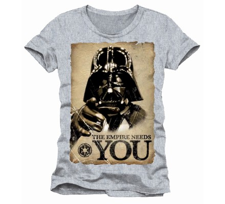 Tee-Shirt Gris Dark Vador The Empire Needs You Star Wars