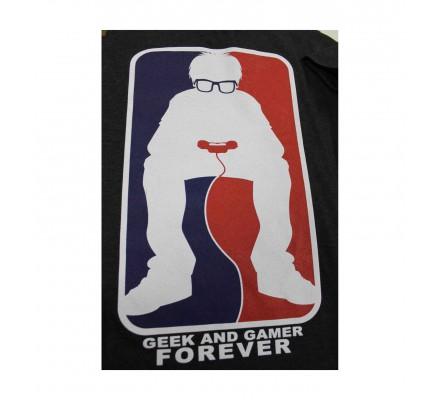 Tee-Shirt Gris Geek And Gamer Forever Geek