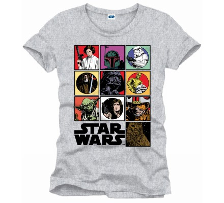 Tee-Shirt Gris Personnages Comics Star Wars