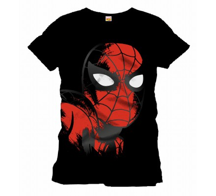 Tee-Shirt Noir Big Face Spiderman
