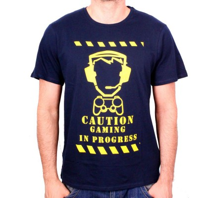 Tee-Shirt Bleu Caution Gaming in Progress Geek