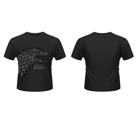 Tee-Shirt Noir Direwolf Stark Winter is Coming Game of Thrones