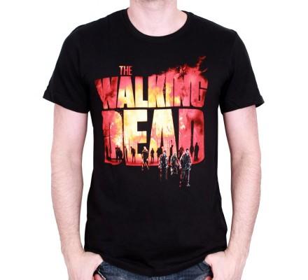 Tee-Shirt Noir Fire Logo The Walking Dead