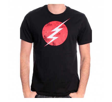 Tee Shirt Noir Logo Distress Flash