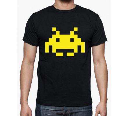 Tee-Shirt Noir Logo Grunge Jaune Space Invaders