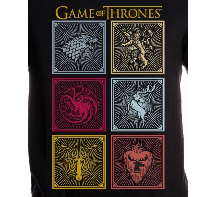Tee-Shirt Noir Logos Familles Game of Thrones