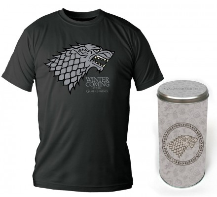 Tee-Shirt Noir Maison des Stark Edition Deluxe Game of Thrones