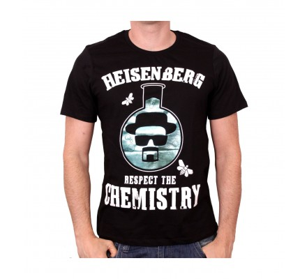 Tee-Shirt Noir Respect The Chemistry Flask Breaking Bad