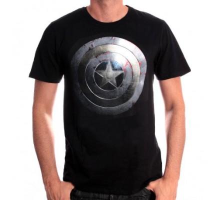 Tee-Shirt Noir Silver Shield Captain America