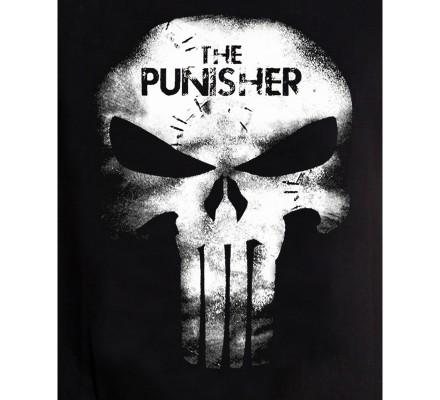 Tee-Shirt Noir Skull Leather Effect Punisher