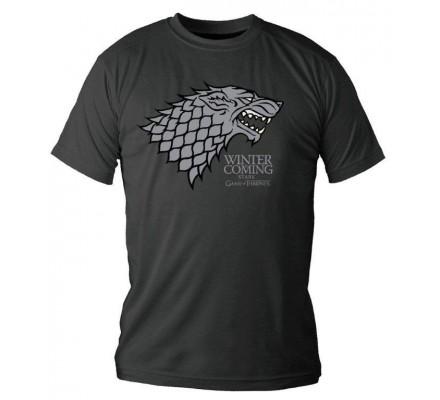 Tee-Shirt Noir Stark Winter is Coming Game of Thrones