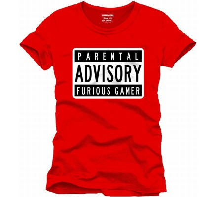 Tee-Shirt Rouge Parental Advisory Furious Gamer Geek